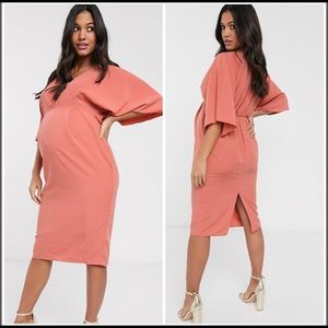 ASOS terracotta pink maternity pencil dress 4